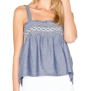 Current/Elliot | The Smocked Tank Chambray Top